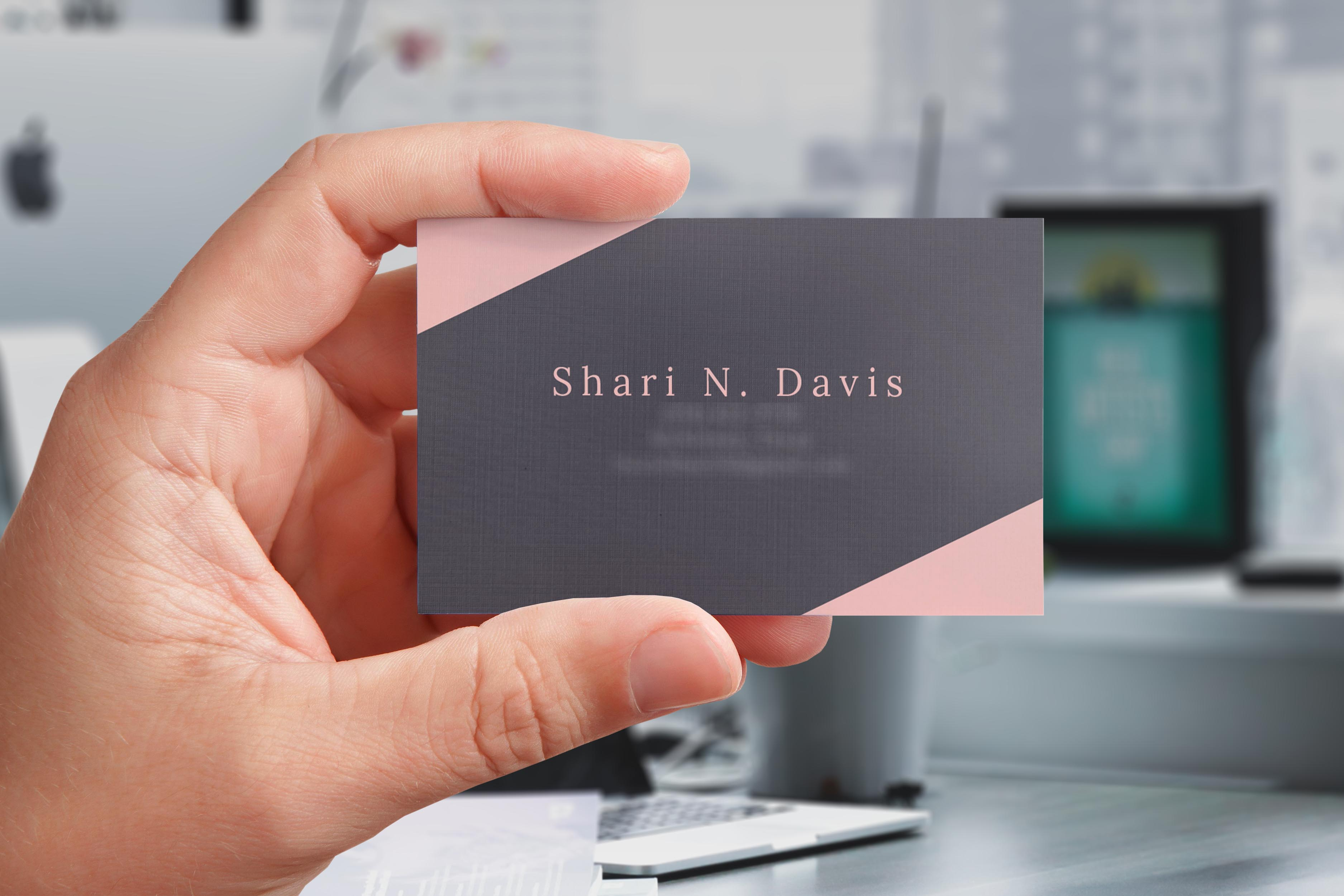 8176732 – hand holding blank business card, a set of 4 colored backgrounds